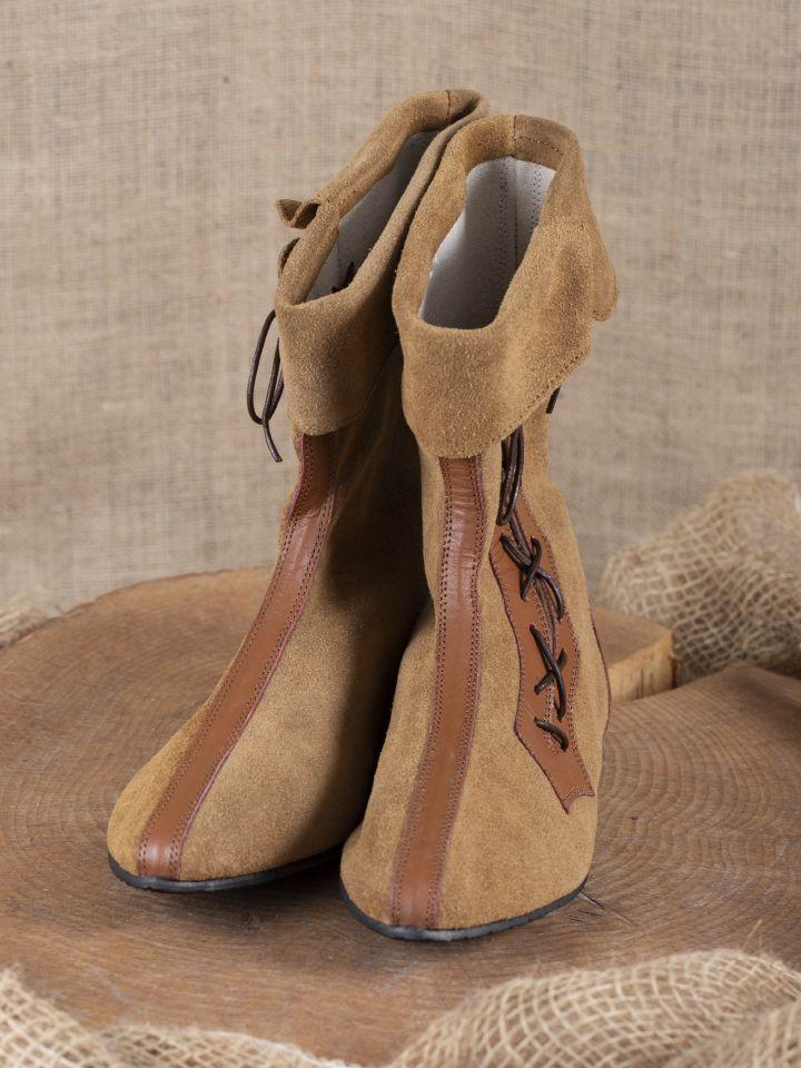 Mittelalter Stiefel mit Seitenschnürung braun 4