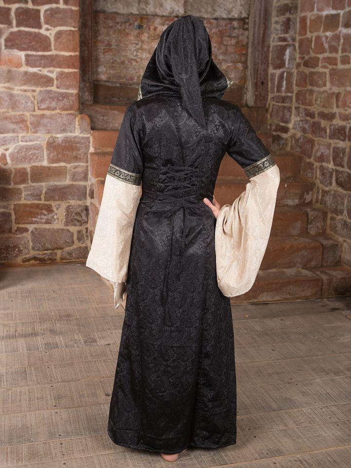 Mittelalterkleid mit Kapuze in schwarz-natur 4