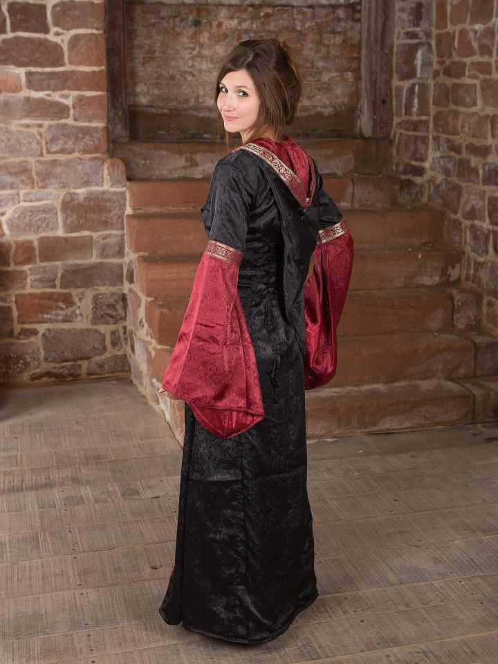 Mittelalterkleid mit Kapuze schwarz rot 4
