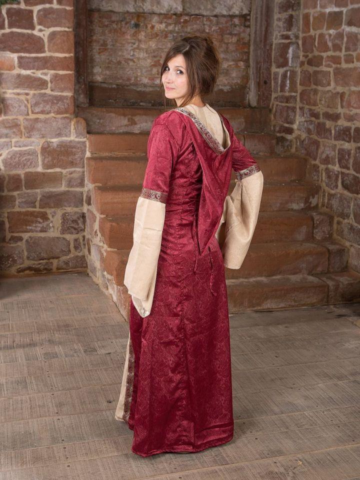 Mittelalterkleid mit Kapuze in rot-natur S/M 4