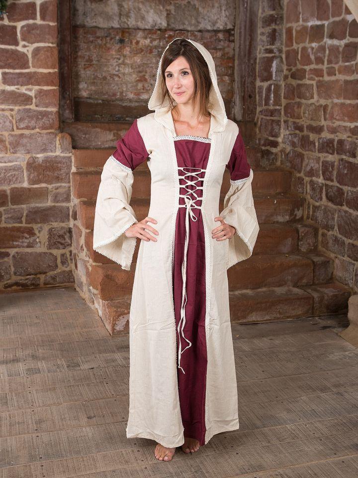 Kleid mit Kapuze - natur-bordeaux 4