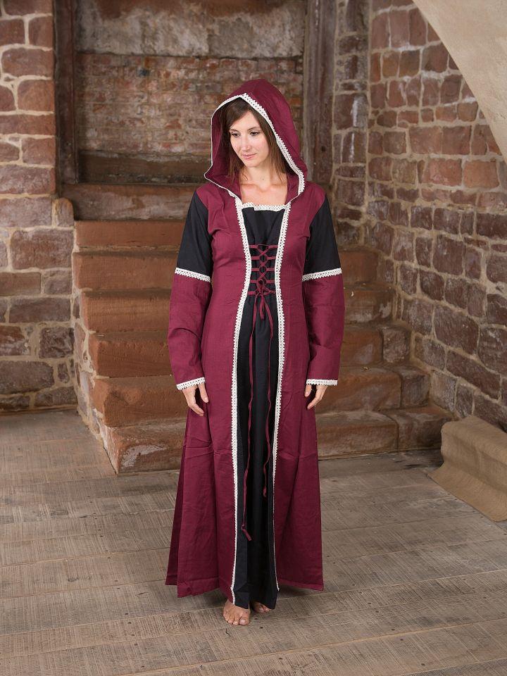 Kleid mit Kapuze - schwarz-bordeaux 4