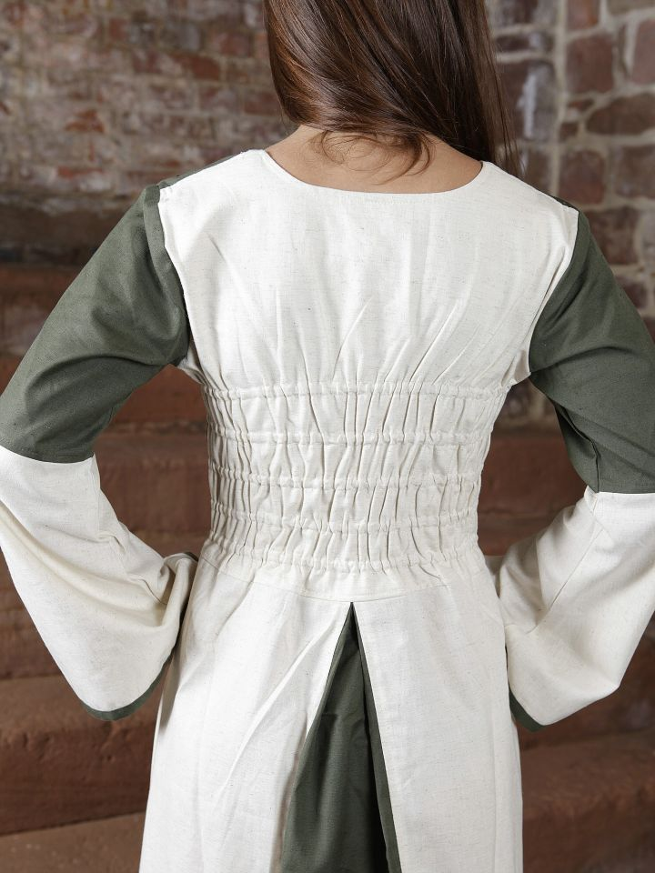 Kleid zweifarbig mit Schnürung in natur-olive 4