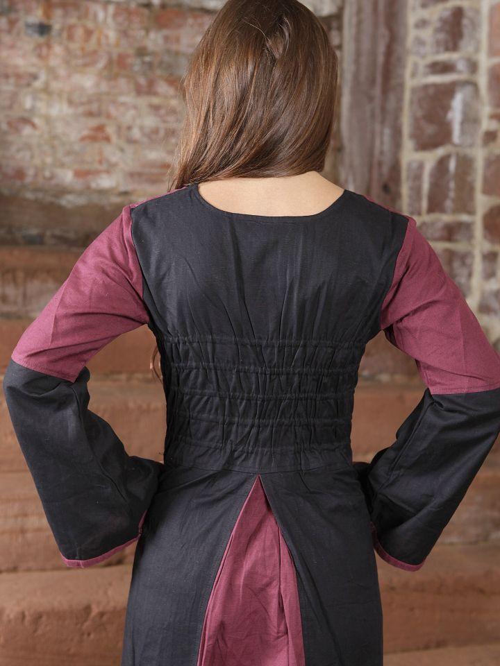 Kleid zweifarbig mit Schnürung in schwarz-bordeaux 4