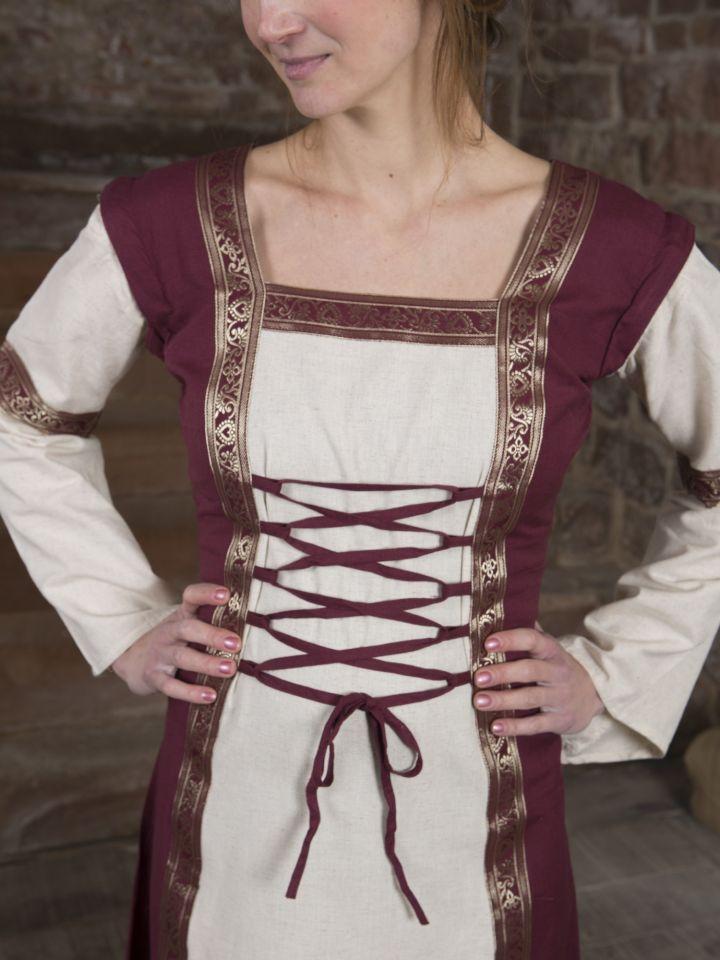 Mittelalterkleid mit abnehmbaren Ärmeln rot-natur 4