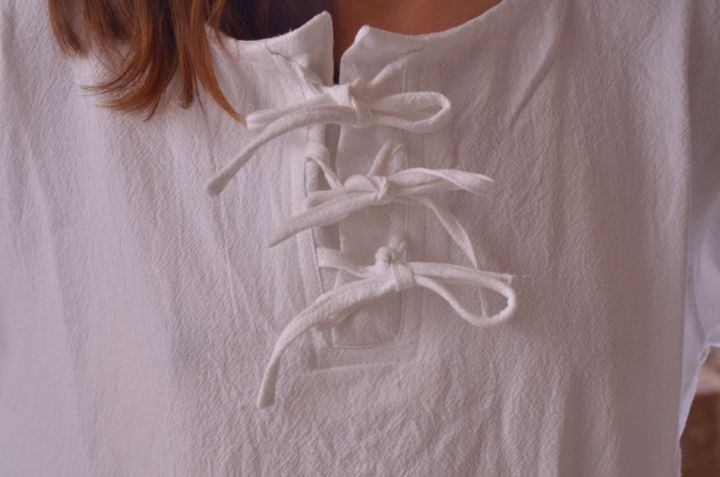 Bluse mit langen Ärmeln weiß M 4