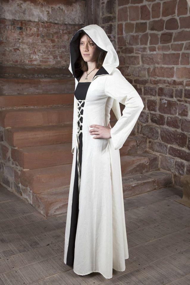 Mittelalterkleid Luna weiß mit schwarzem Mittelteil 34 4