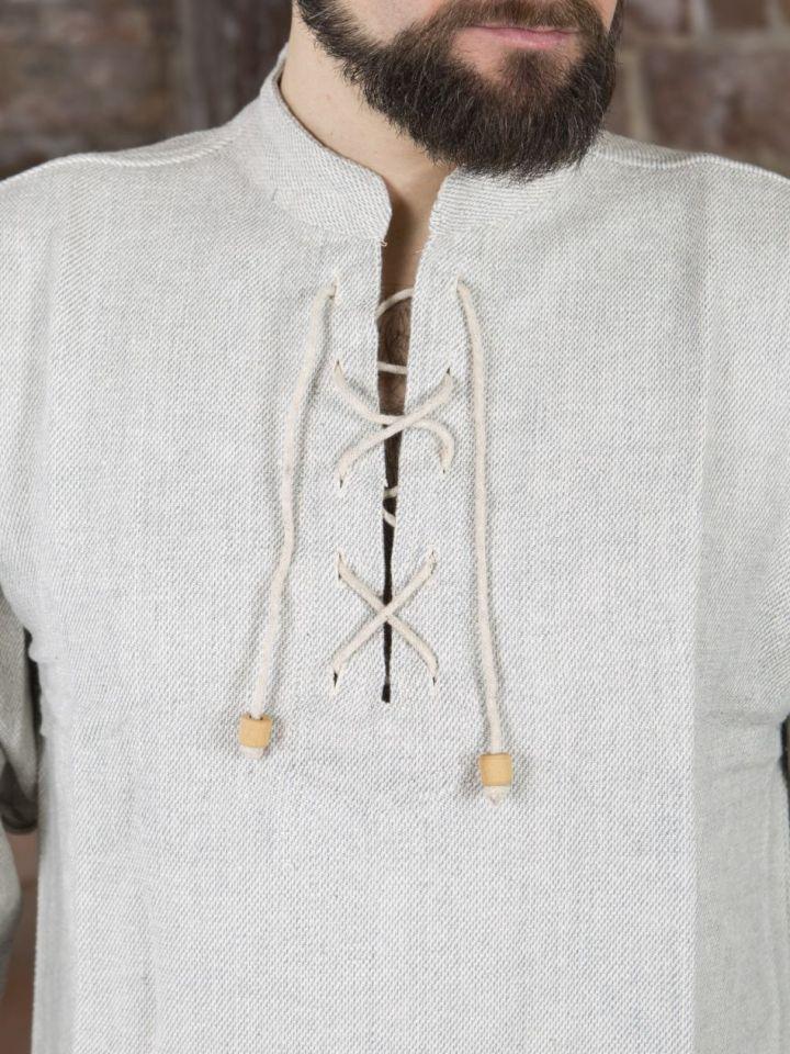 Winterhemd - Stehkragenhemd grau meliert M 4
