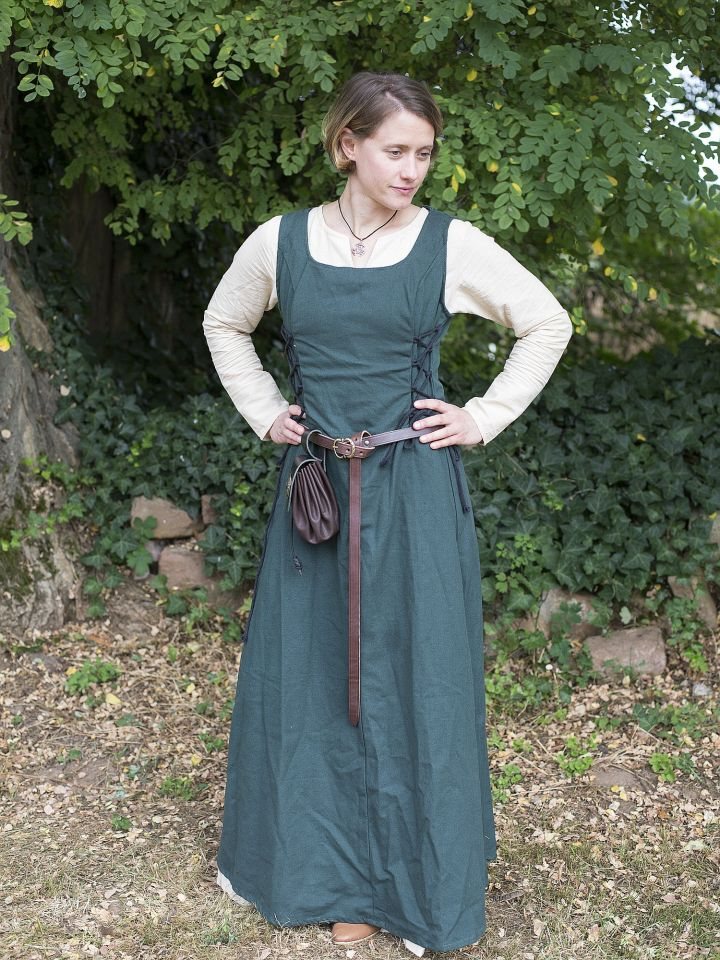 Ärmelloses Trägerkleid aus Canvas grün L 4