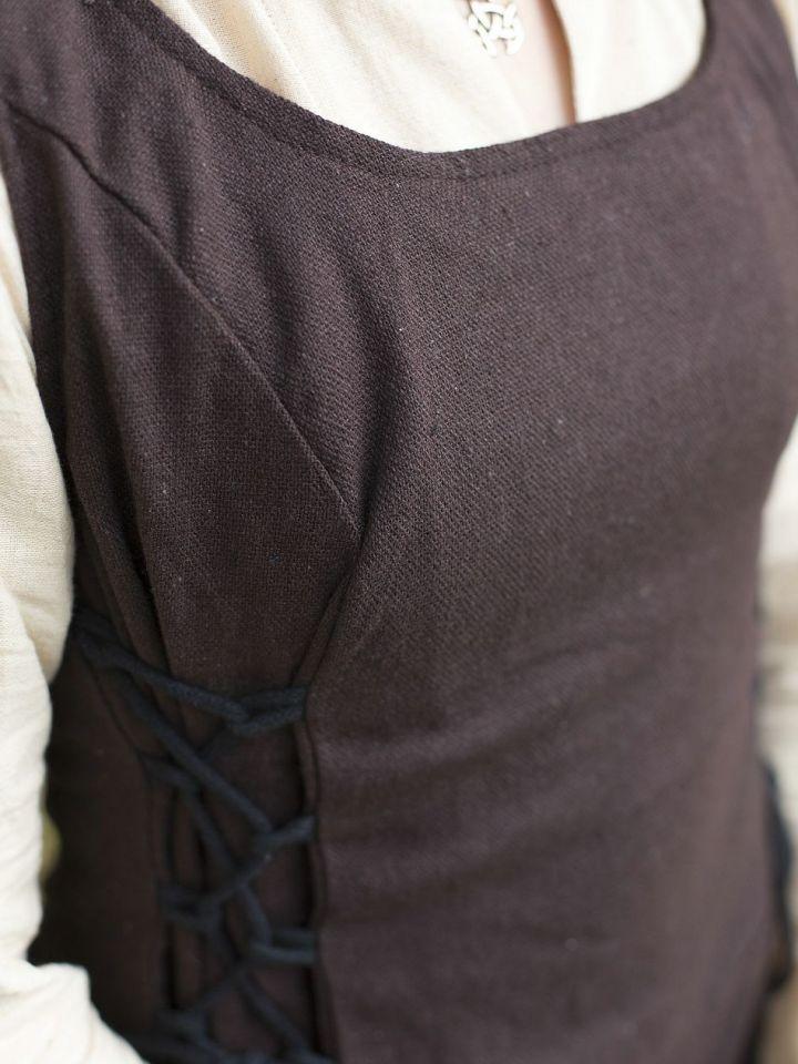Ärmelloses Trägerkleid aus Canvas braun M 4