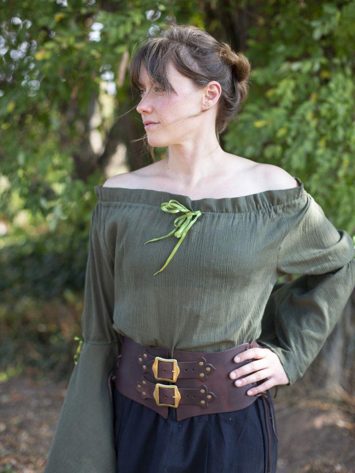 Mittelalterbluse mit Trompetenärmeln olivgrün 4