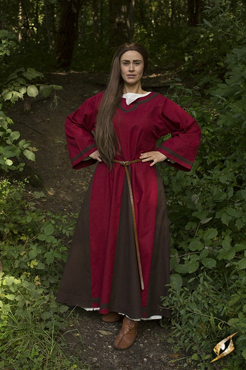 Kleid Astrid rot-braun 4