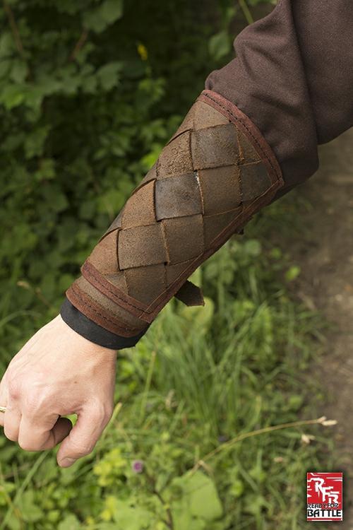 Wikinger-Armschienen aus Leder braun 4