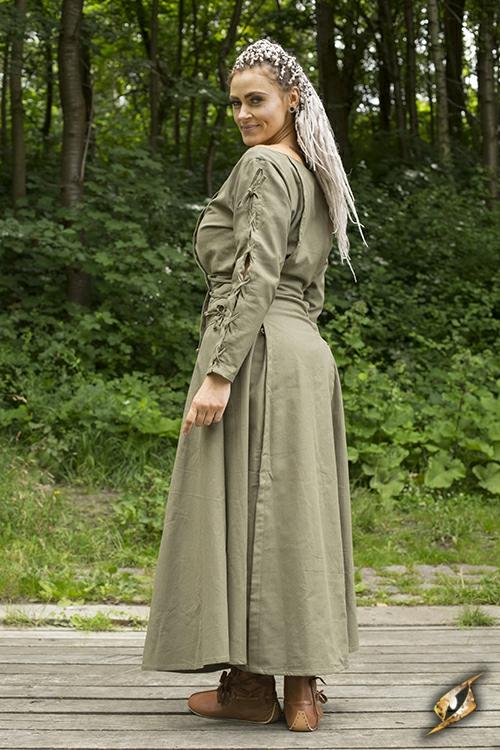 Kleid mit Schnürung grün 4