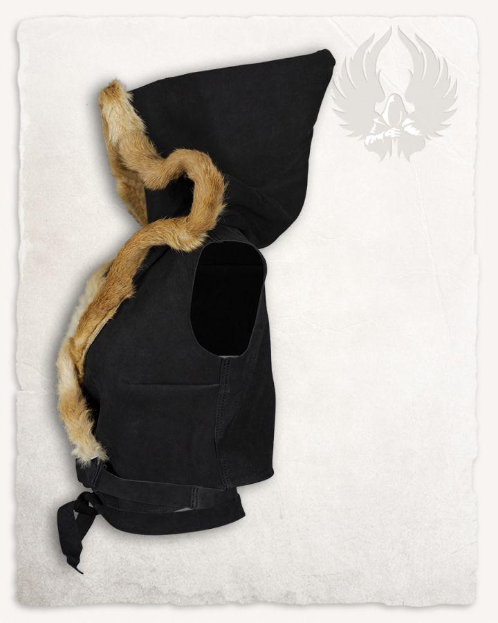 Kapuzentop aus Leder schwarz 4