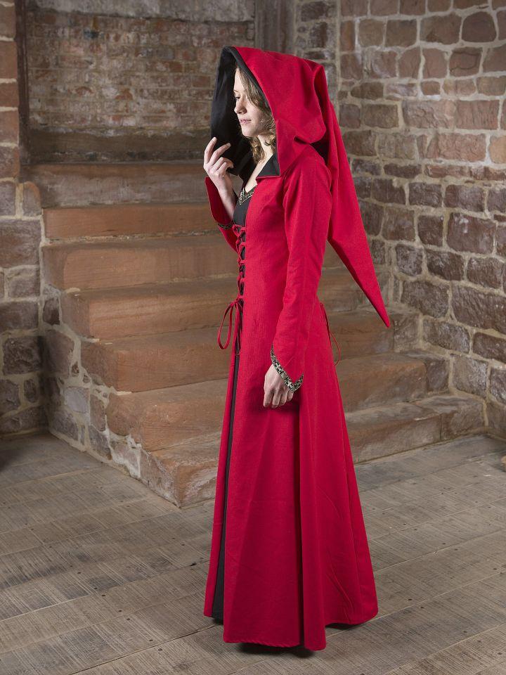 Mittelalterkleid Gwenhwyfar schwarz-rot 4