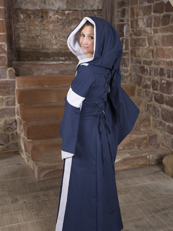 Baumwollkleid Minna blau-weiß 4