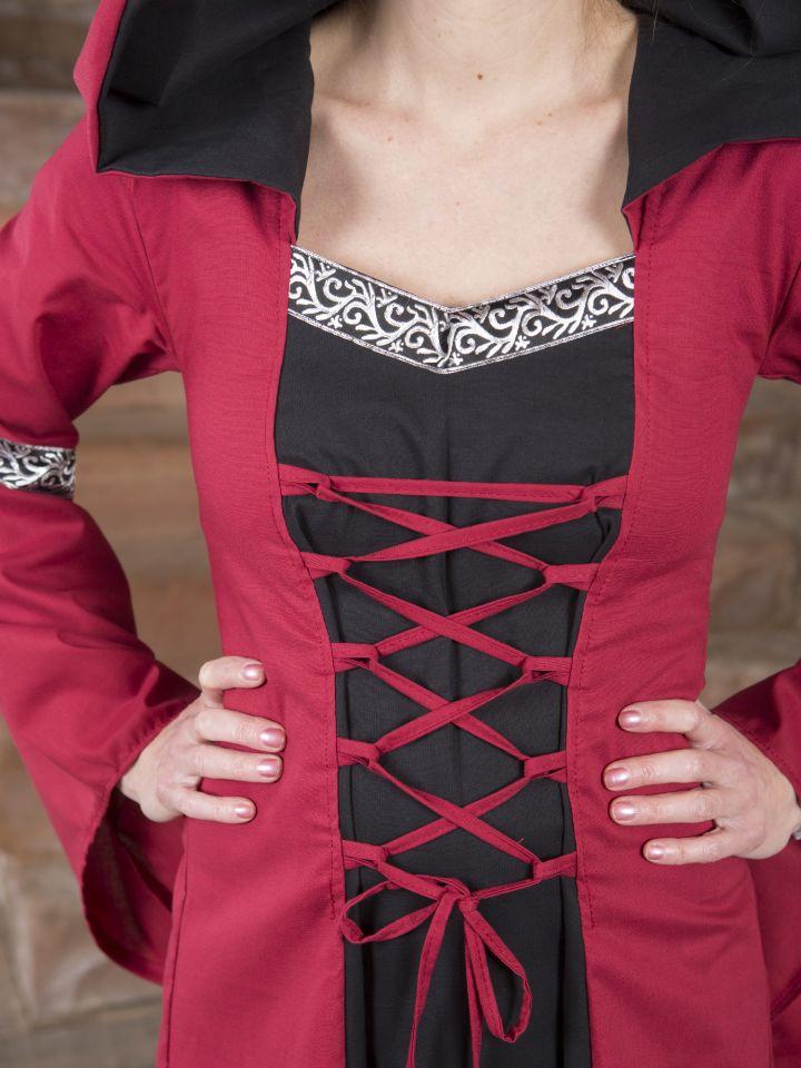 Mittelalterkleid Helena schwarz-rot 4