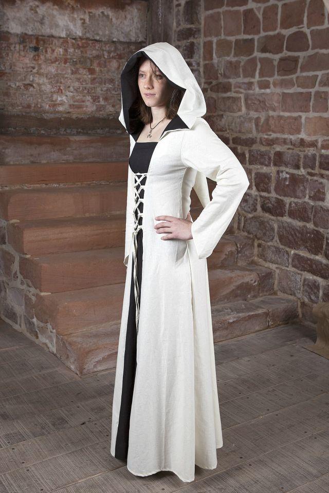 Mittelalterkleid Luna weiß mit schwarzem Mittelteil 4