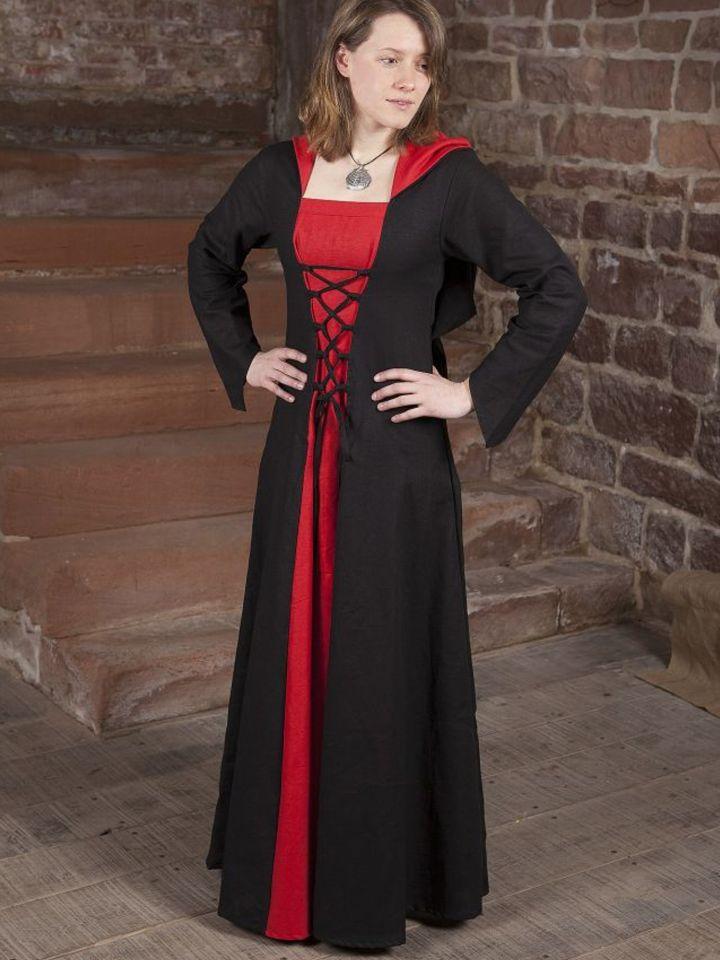 Mittelalterkleid Luna schwarz-rot 3
