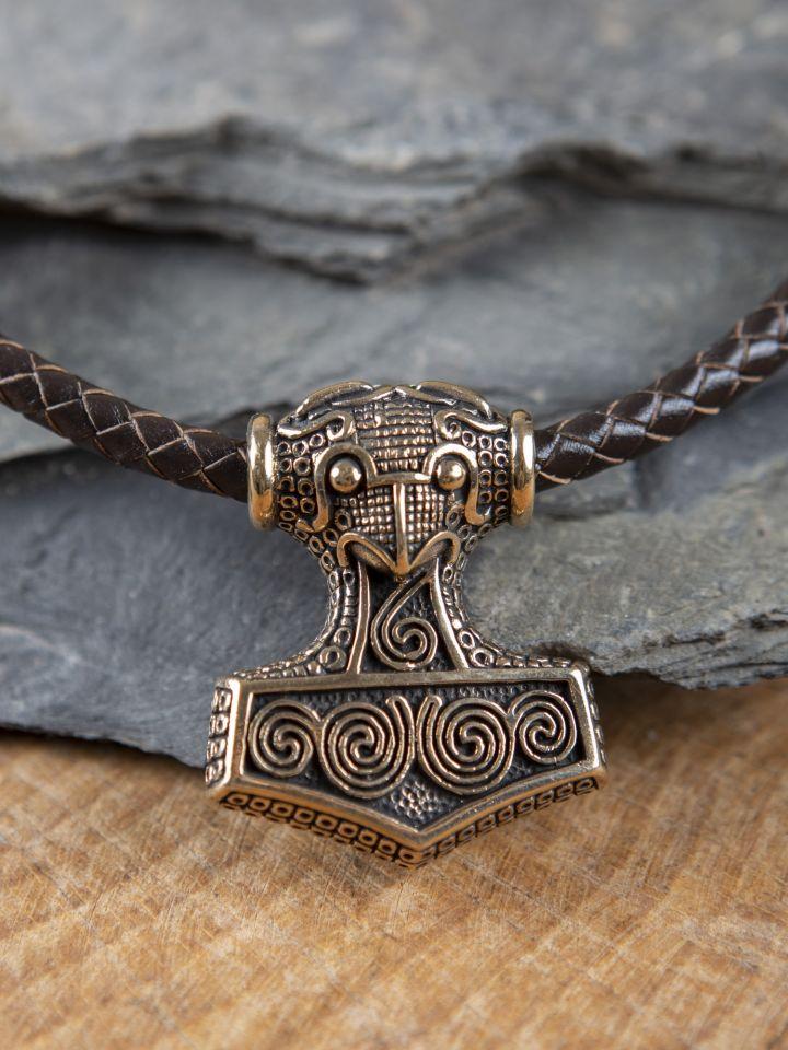 Braunes Ledercollier mit Schonenhammer aus Bronze 4