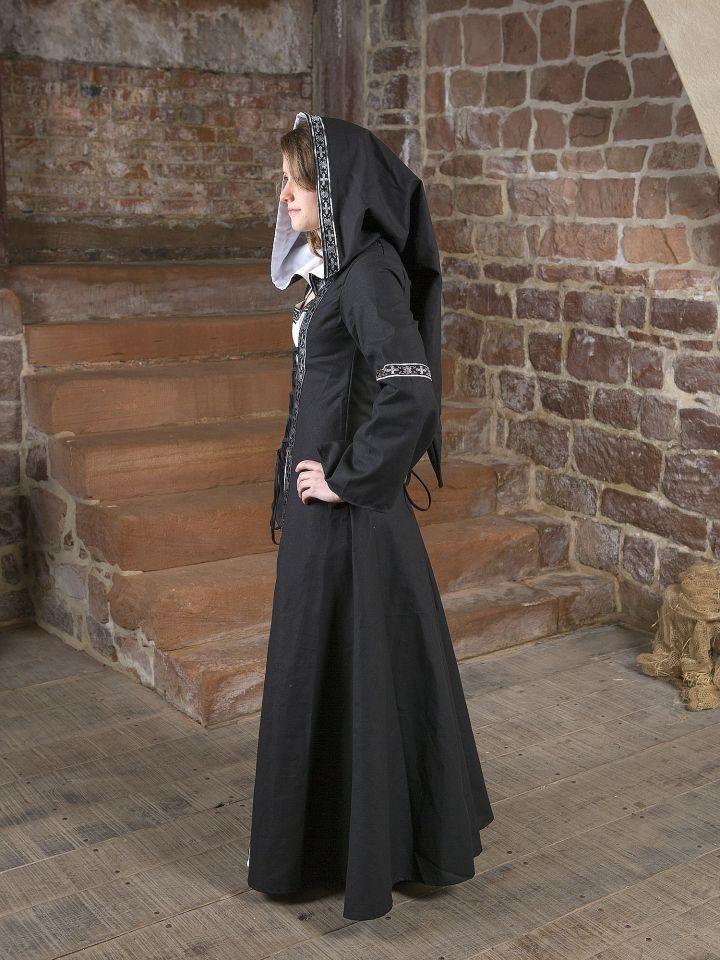 Mittelalterkleid Brida in schwarz-weiß 4