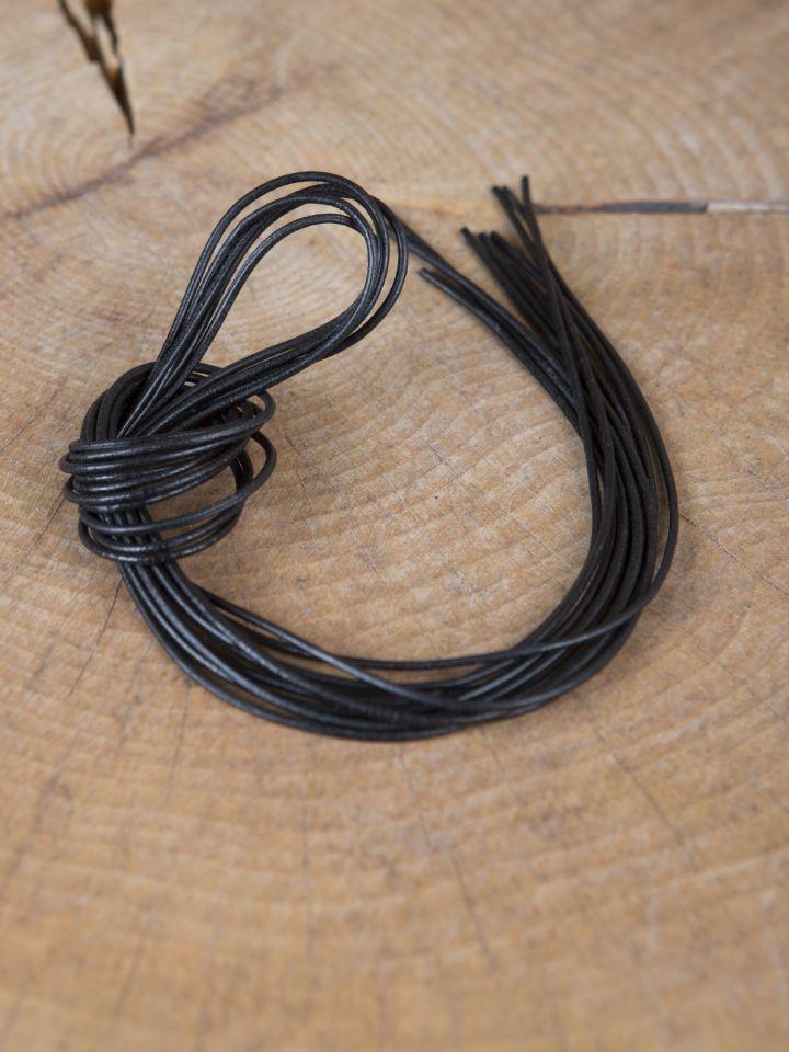 Lederriemen,  1 Meter rund oder rechteckig schwarz - vierkant 4