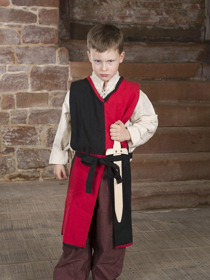 Kinder-Waffenrock mit Bindegürtel rot-schwarz 4
