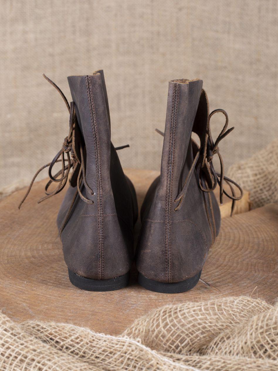 Wikingerstiefel Haithabu aus Nubukleder braun mit Ledersohle Mittelalterliches Schuhwerk