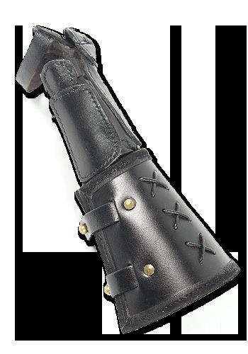 Schwarzer Panzerhandschuh aus Leder für die linke Hand 5