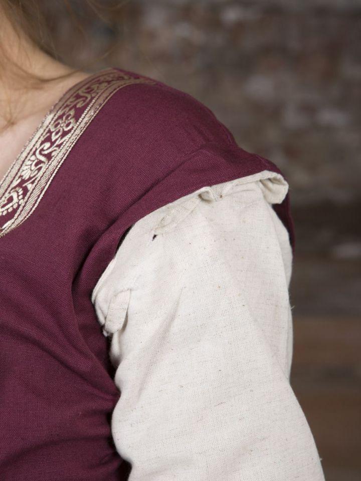 Mittelalterkleid mit abnehmbaren Ärmeln rot-natur S/M 5