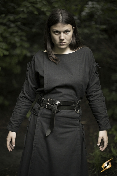 Kleid mit Schnürung schwarz S 5