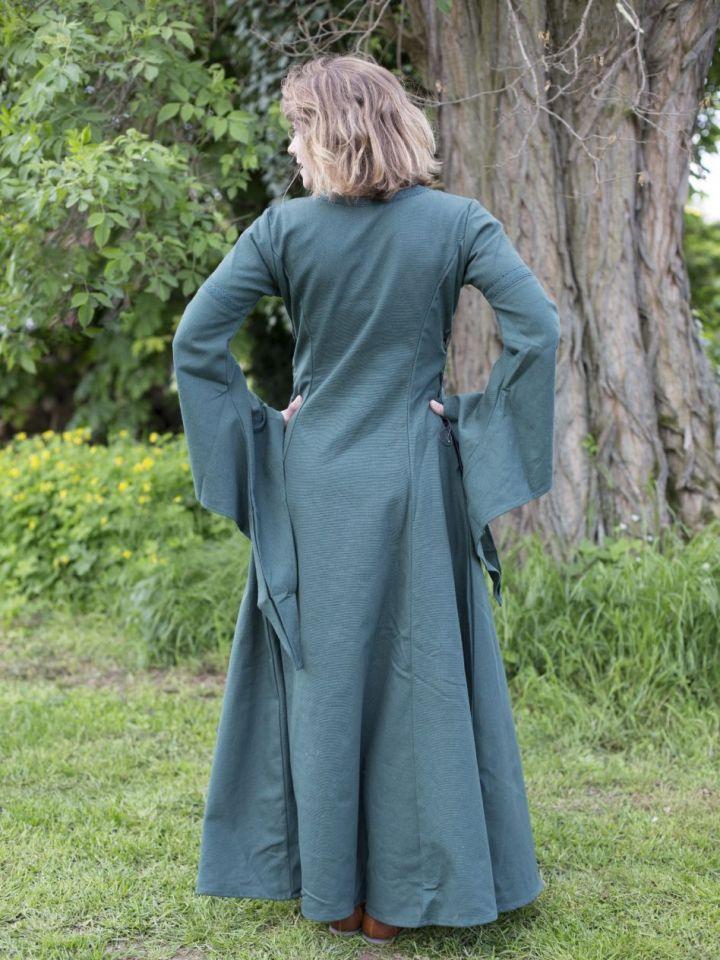 Edles Kleid mit Trompetenärmeln grün L 5