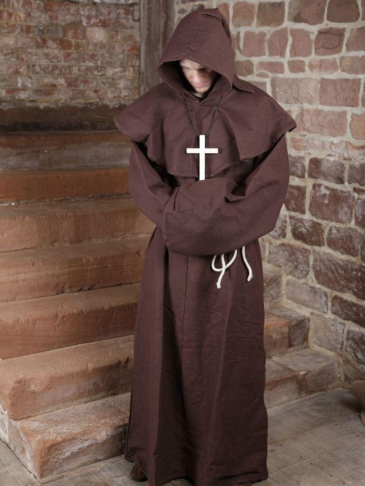 Mönchskutte (mit Kapuze und Seil) braun   mit Kreuz 5