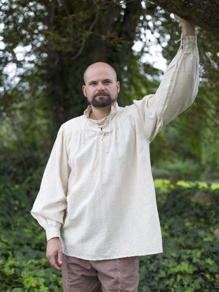 Mittelalterhemd Leinen M | weiß 5