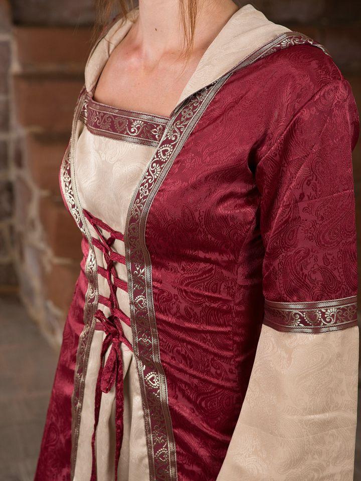 Mittelalterkleid mit Kapuze in rot-natur S/M 5