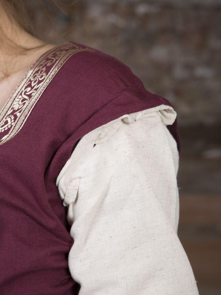 Mittelalterkleid mit abnehmbaren Ärmeln rot-natur 5