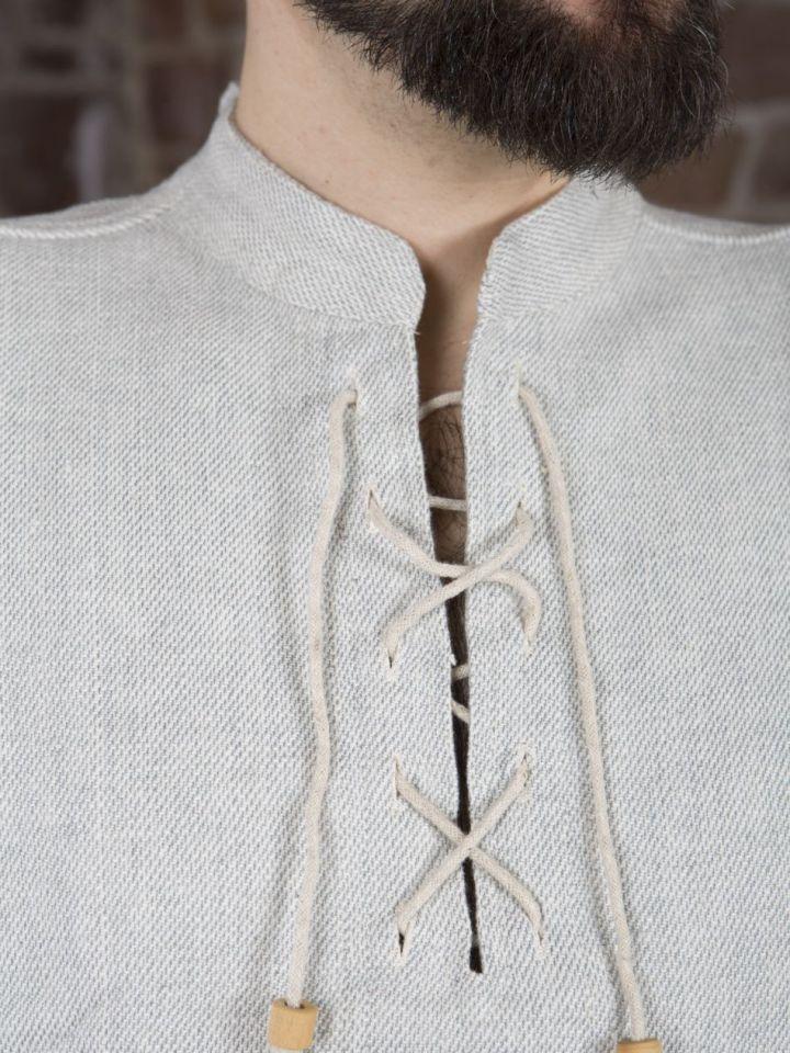 Winterhemd - Stehkragenhemd grau meliert M 5