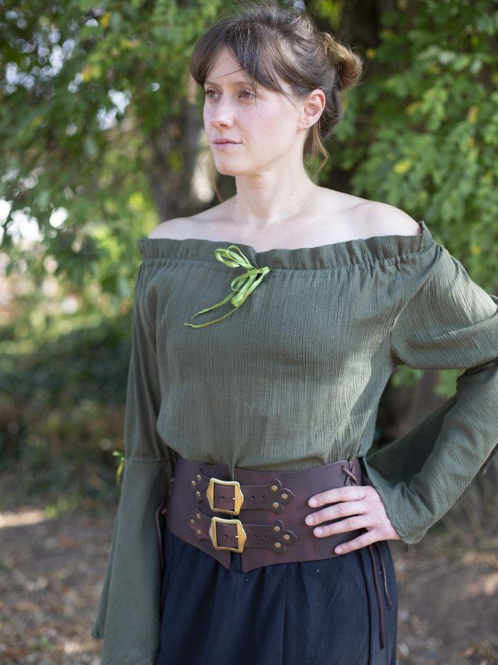Mittelalterbluse mit Trompetenärmeln olivgrün 5