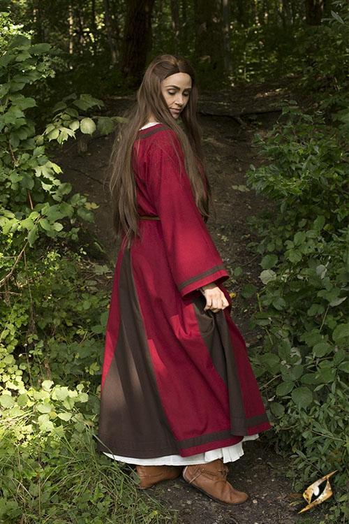 Kleid Astrid rot-braun 5