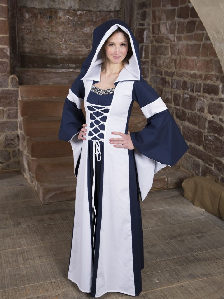 Baumwollkleid Minna blau-weiß 5