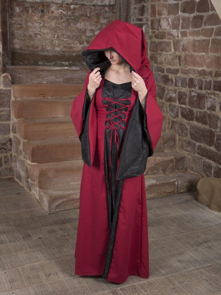 Mittelalterkleid Evanna schwarz-rot 5