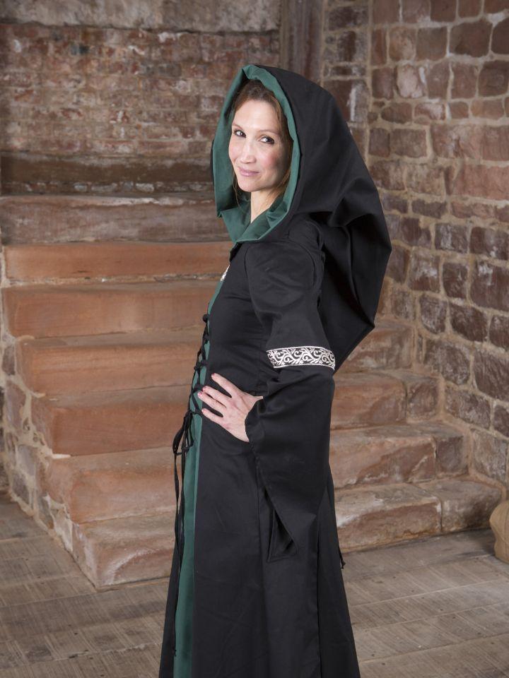 Mittelalterkleid Helena schwarz-grün 5