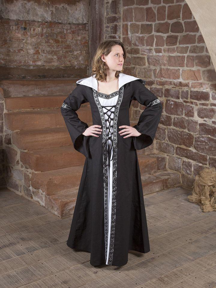 Mittelalterkleid Brida in schwarz-weiß 5
