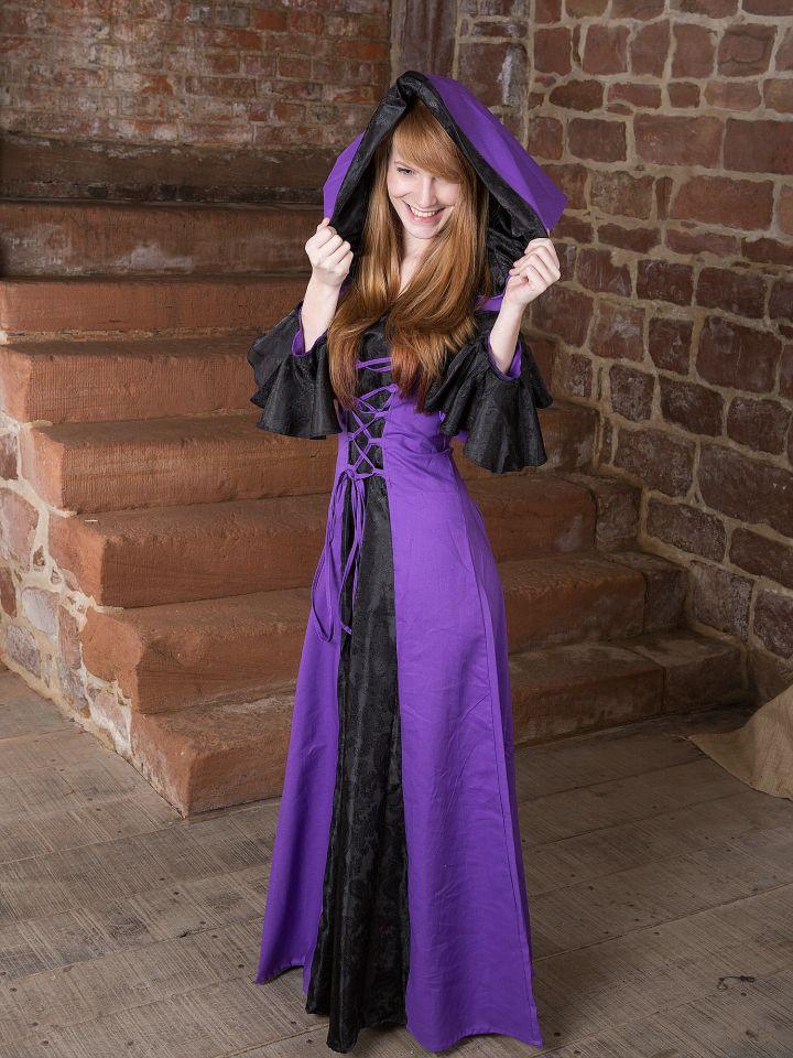 Mittelalterkleid Clara, schwarz-lila 5