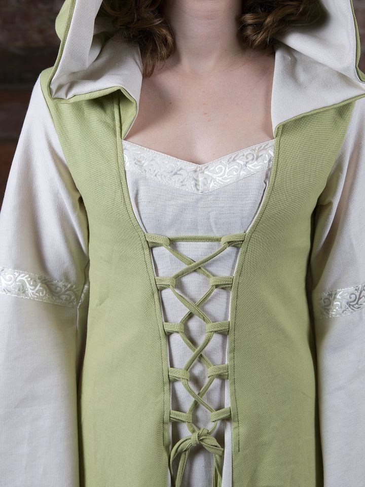 Mittelalterkleid Irmel grün-weiß 5
