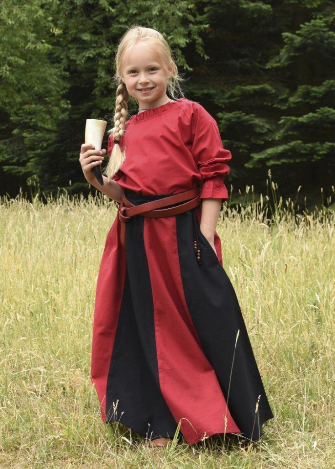 Mädchenrock für Mittelalter rot-schwarz 6
