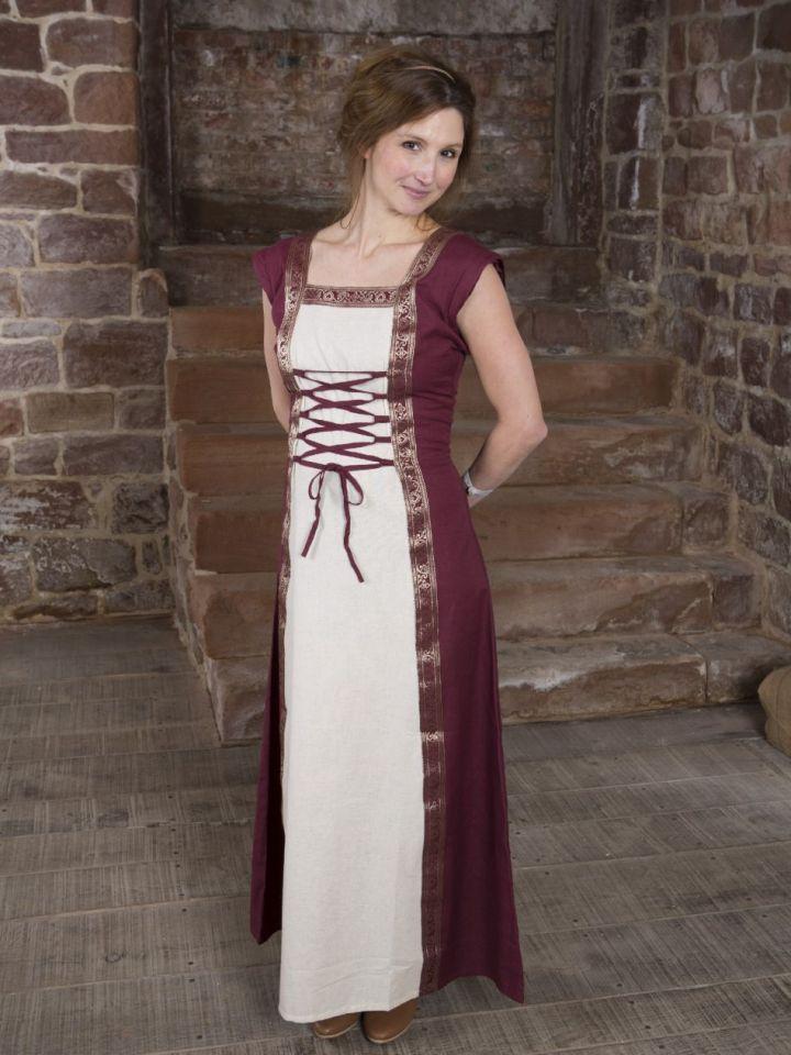 Mittelalterkleid mit abnehmbaren Ärmeln rot-natur S/M 6