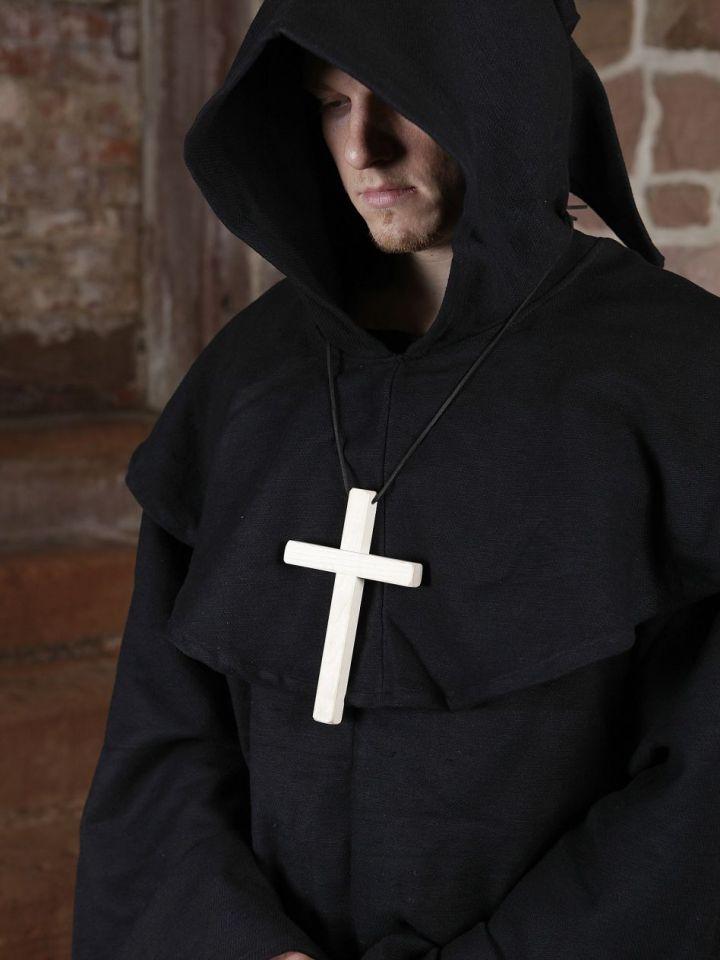 Mönchskutte (mit Kapuze und Seil) schwarz | ohne Kreuz 6