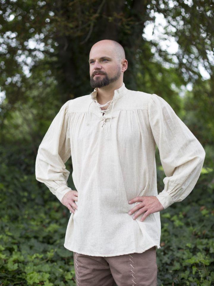 Mittelalterhemd Leinen M | weiß 6